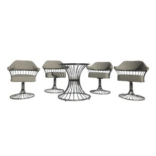 1970s Chromcraft Tubluar Tulip Base Metal Dining Set