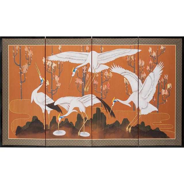 1960s Japanese Dancing Cranes Screen For Sale - Image 12 of 12