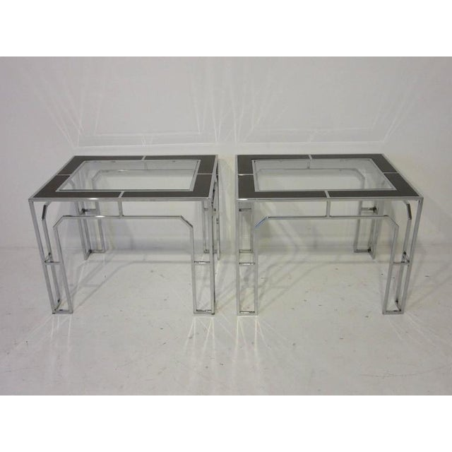 Milo Baughman Chrome Glass and Wood Side Tables - a pair For Sale - Image 9 of 9