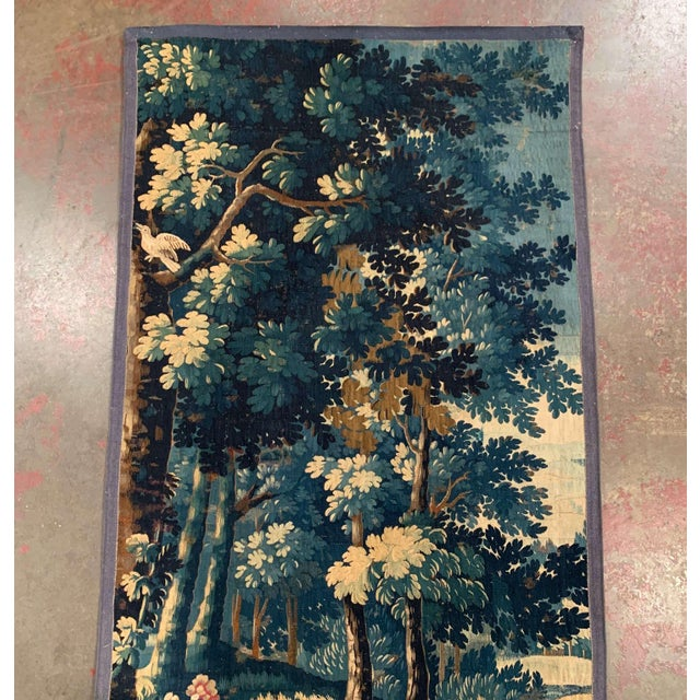 Mid-18th Century French Verdure Aubusson Tapestry With Trees and Foliage For Sale - Image 4 of 13