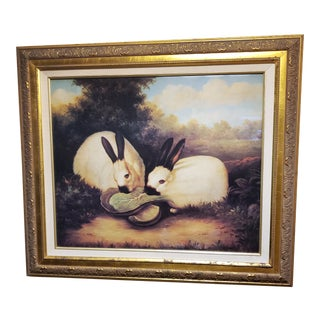 1990s P. Rolence Folk Art Gold Print of Himalayan Rabbits Eating Cabbage, Framed For Sale