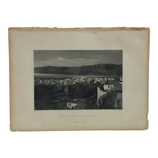 "Antique Original Engraving on Paper ""Mount Lebanon From Beyrout"" by J. Cramb Circa 1890 For Sale"