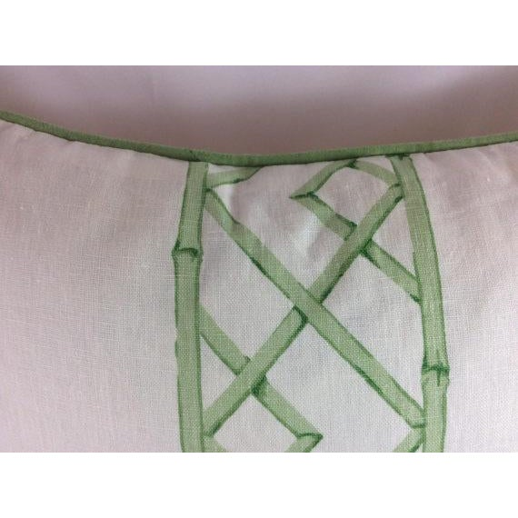 "Contemporary Sarah Richardson's ""Latticely"" in Jade Pillows - a Pair For Sale - Image 3 of 5"