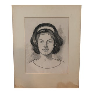 Original 1960's Velvet Portrait Drawing Brunette Girl For Sale