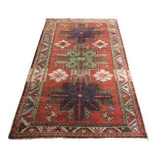 4ft10 in × 8ft Vintage Handwoven Wool Area Rug For Sale