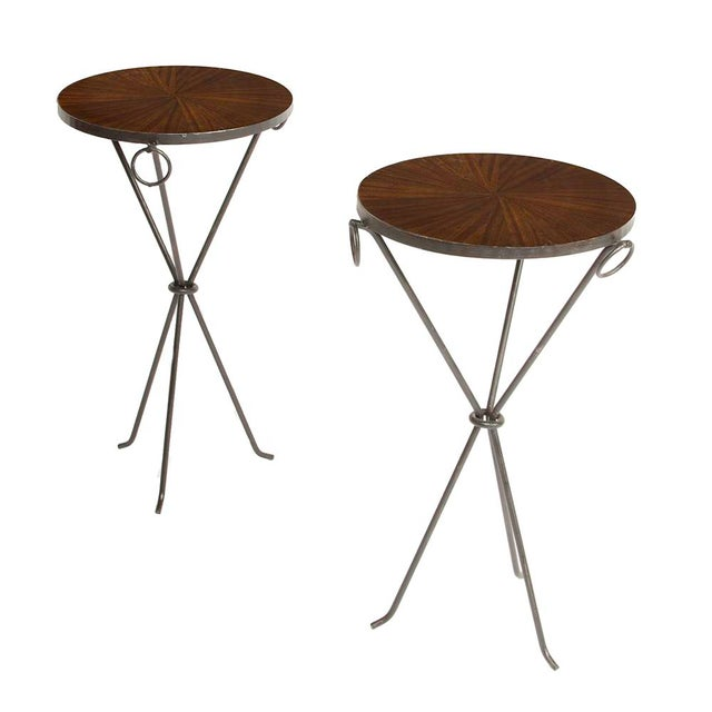 Brown Contemporary Wrought Iron Drink Tables With Parquet Tops in the Manner of Jean-Michel Frank - a Pair For Sale - Image 8 of 8