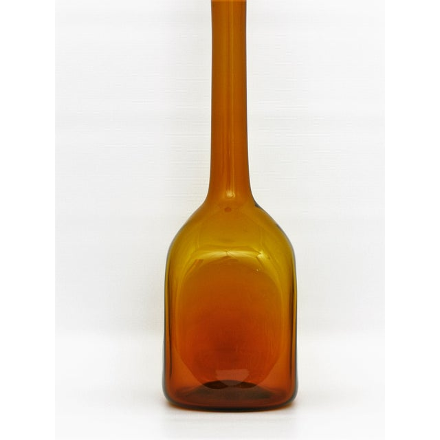 Vintage Italian Murano Amber Glass Decanter With Stopper Venetian Vase Bottle Italy Mid Century Modern For Sale - Image 5 of 11