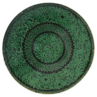 Antique Tibetan Black and Green Earthenware Wall Charger For Sale