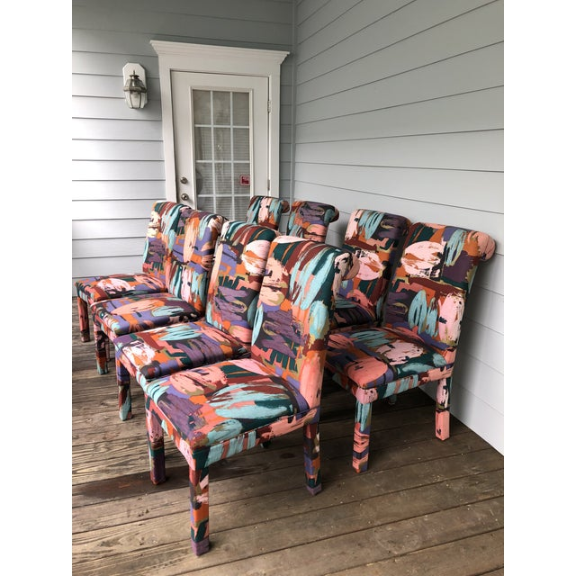 Hollywood Regency Vintage Parsons Chairs Chairs Set of 8 For Sale - Image 3 of 7