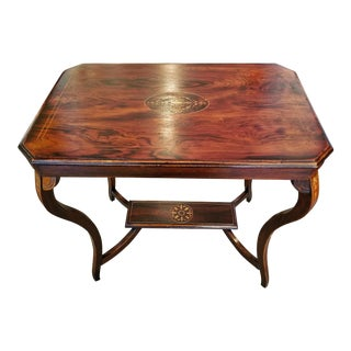Edwardian British Mahogany and Marquetry Side Table For Sale