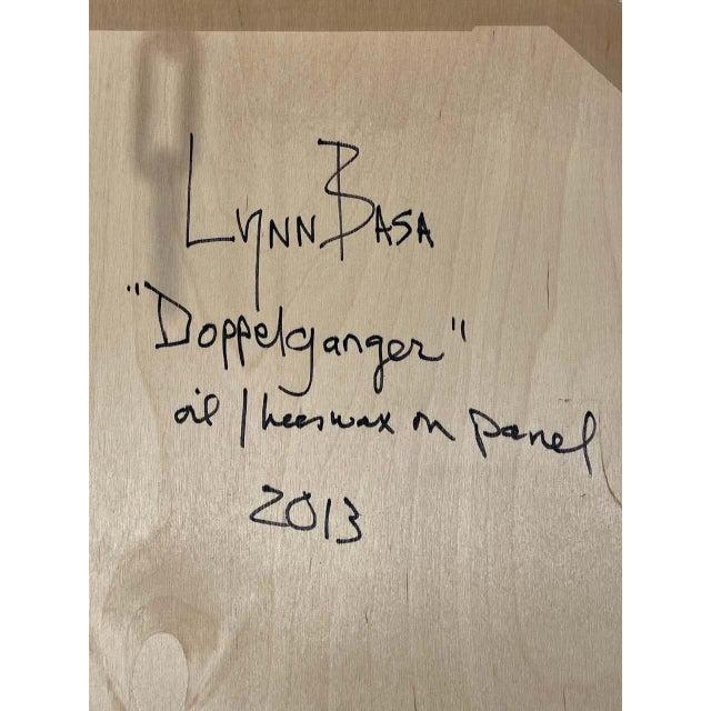 """Lynn Basa Encaustic Black and White Stripe Panel """"Doppleganger"""" 2013 For Sale - Image 10 of 12"""