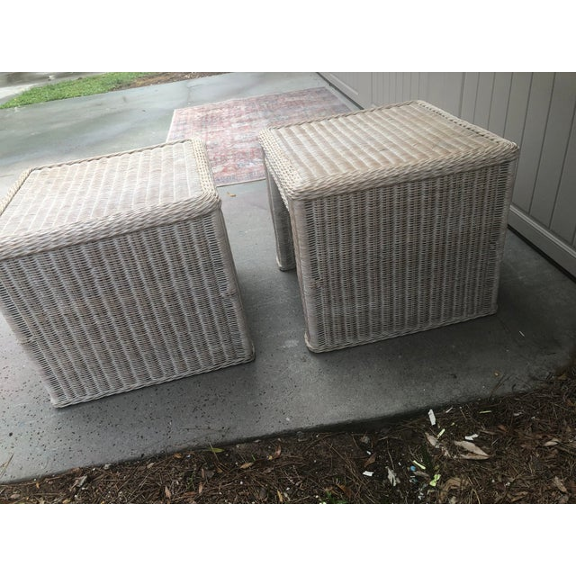 1970s Vintage Wicker End Tables - a Pair For Sale - Image 5 of 11