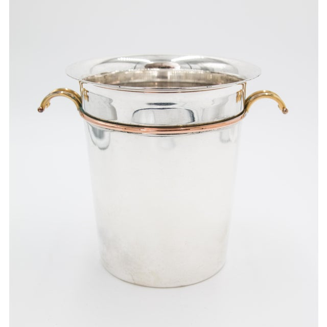 French Art Deco Silver Plate & Brass Champagne Bucket For Sale - Image 9 of 9
