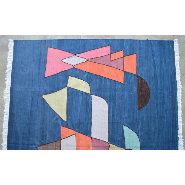Paul Klee - Sailing Boats - Inspired Silk Hand Woven Area - Wall Rug 4′6″ × 5′9″ For Sale In Raleigh - Image 6 of 11