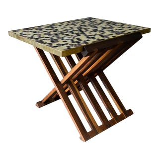 Folding Tile Top Table by Edward Wormley for Dunbar, Circa 1960 For Sale