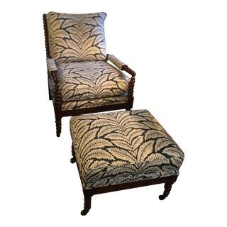 Cr Laine New Spool Chair & Ottoman Brunschwig & Fils Talavera For Sale
