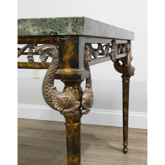 Maitland Smith Neo-Classical Square Marble Top Bronze and Iron Game Table For Sale - Image 9 of 13
