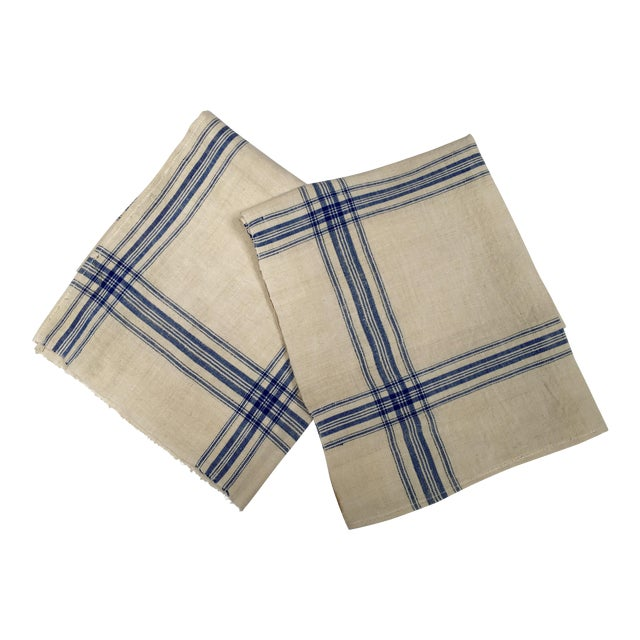 Homespun Flax Linen French Blue Plaid Towels - A Pair - Image 1 of 7