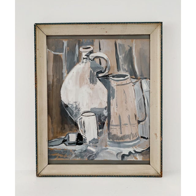 Vintage still life watercolor painting of a pitcher, jug and glass, circa 1970's in excellent condition. Reasonable offer...