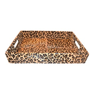 Hollywood Regency Authentic Hide Leopard Tray For Sale