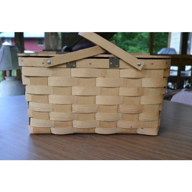 Blueberry Wooden Picnic Basket For Sale - Image 4 of 8