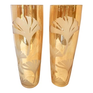 Pair of Vintage Large Vases With Etching For Sale