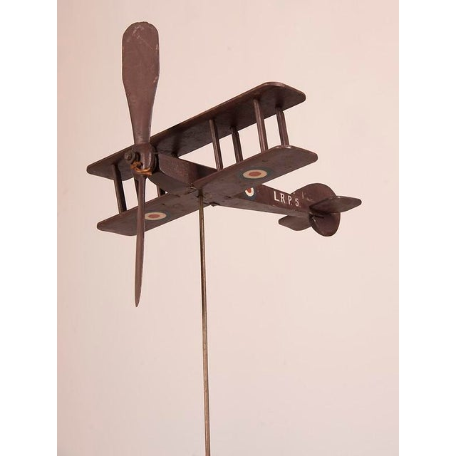 1940s Handsome Hand Carved and Painted Wooden Biplane from England c.1940 For Sale - Image 5 of 6