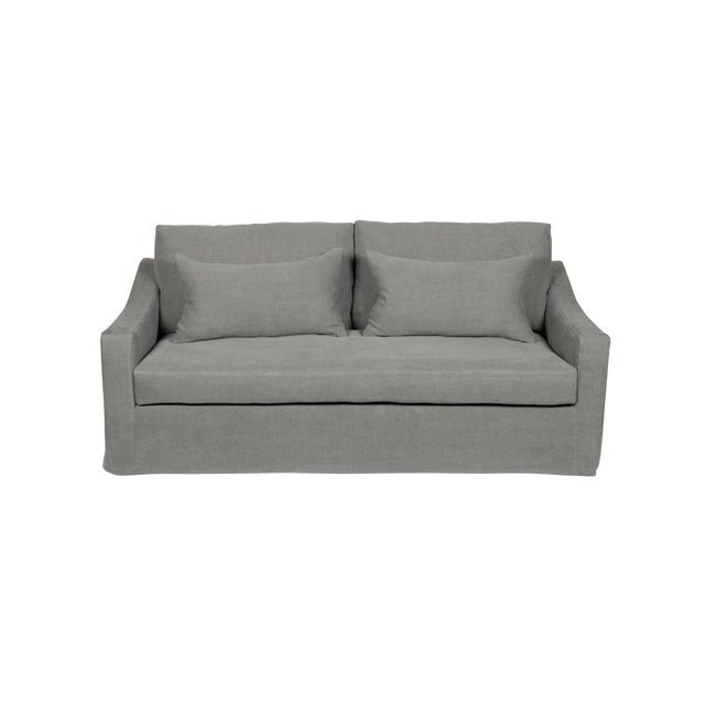 Moss Home Abram Sofa Stonewashed Linen Zinc For Sale In Los Angeles - Image 6 of 7