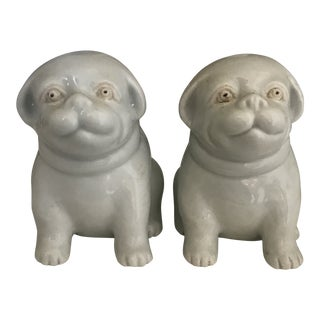 Japanese White Hirado Ware Puppies- Pair For Sale