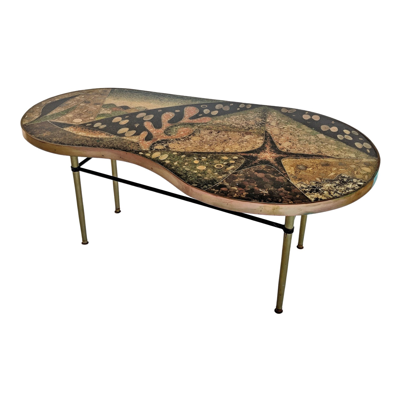 Modern Copper Coffee Table: 1957 Mid-Century Modern Inlaid Copper, Resin, Shell And