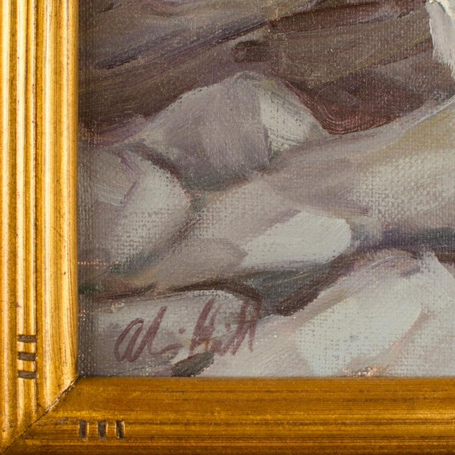"""Modern Late 20th Century """"Seagulls on the Rocks"""" Coastal Oil Painting by Alison Hill, Framed For Sale - Image 3 of 9"""