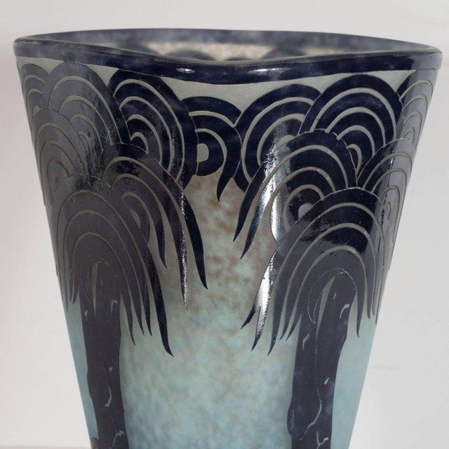 La Verre Francais Stylized Palm Tree Cameo Glass Vase by Charles Schneider For Sale - Image 9 of 11