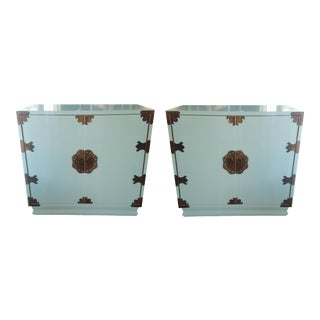 Asian Inspired Ice Blue Chests - A Pair