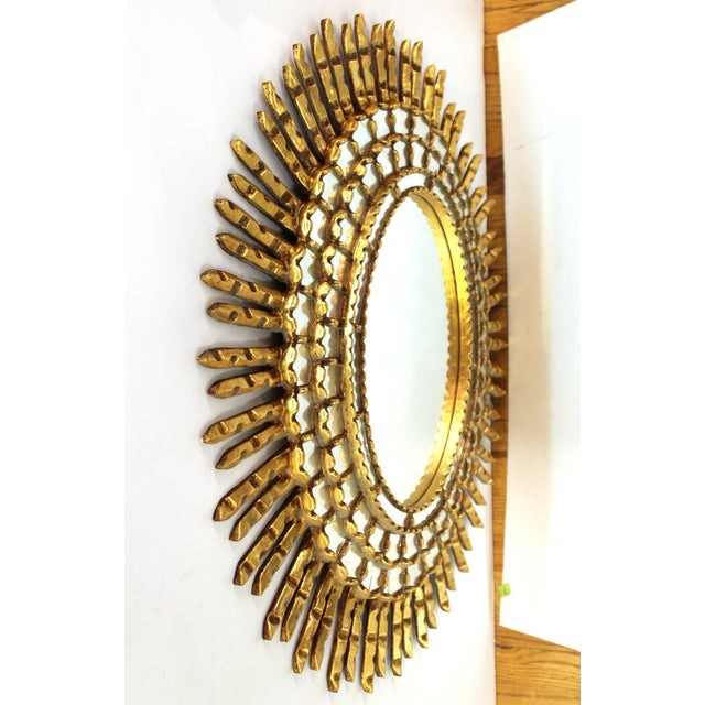 Mid-Century Modern Oval Sunburst Giltwood Mirror For Sale - Image 9 of 10