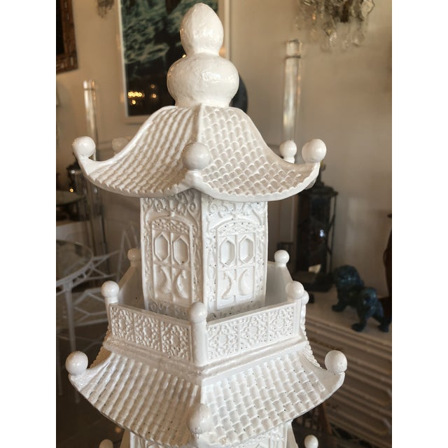 Lacquer Chinoiserie White Lacquered Pagoda Statue For Sale - Image 7 of 12