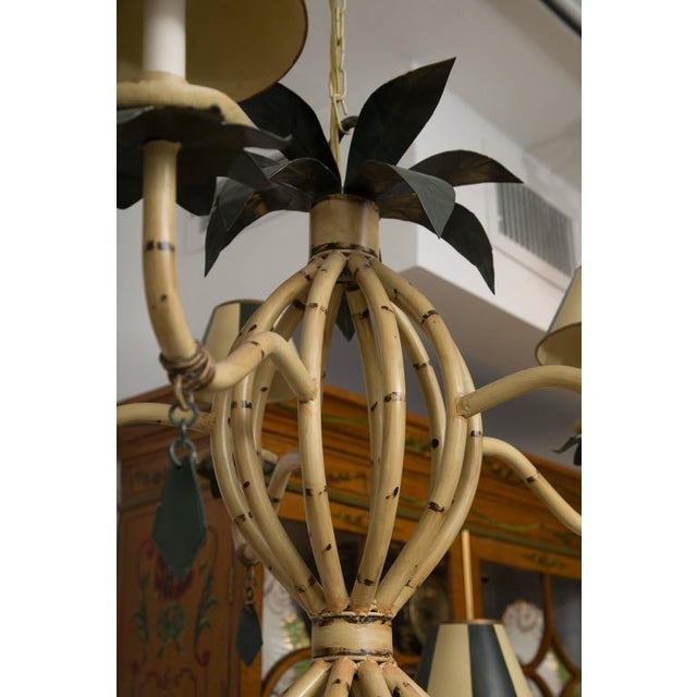 Polychrome Metal Ten-Light Faux Custom Bamboo Chandelier - Image 8 of 10