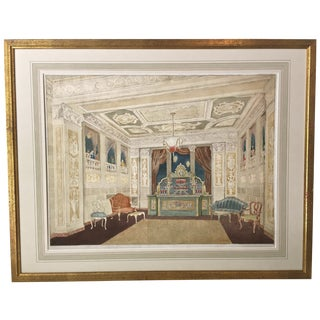 Vintage New York Manhattan Hotel Interior Design Watercolor by Daniel MacMasters For Sale