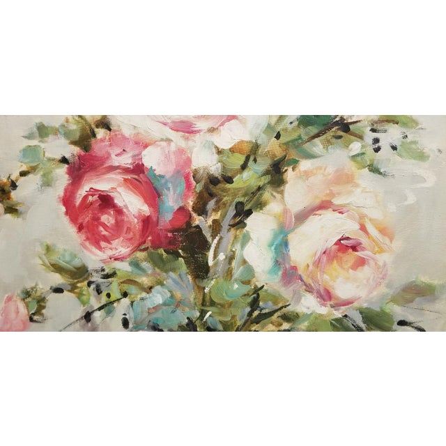 Large and lovely oil on linen painting of a bouquet of roses in a white vase. Bold brushwork gives the roses a freshness...