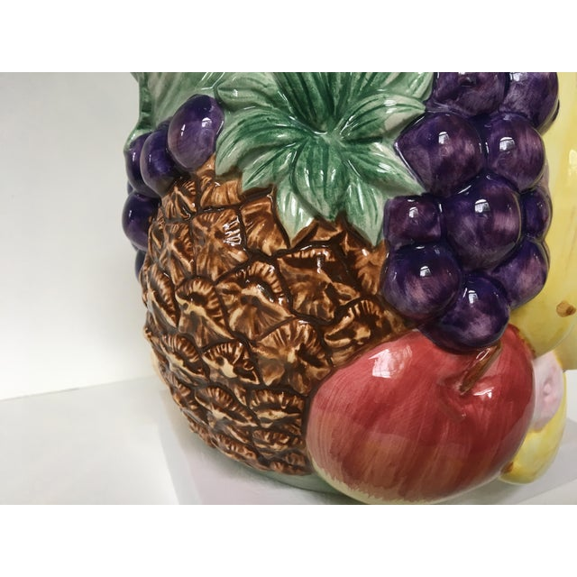 Americana 1980's Hand Painted Fitz and Floyd Fruit Motif Ceramic Pitcher For Sale - Image 3 of 13