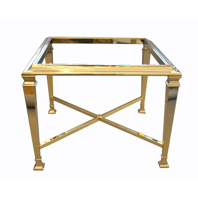 Hollywood Regency French Maison Jansen Brass Tables With Glass Tops, Pair For Sale In Miami - Image 6 of 12