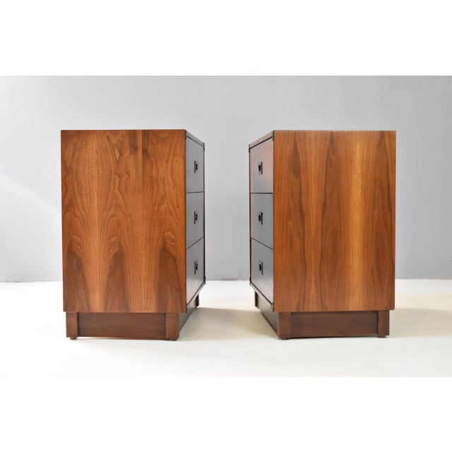 Campaign Mid- Century Campaign Style Chests by Drexel - a Pair For Sale - Image 3 of 13