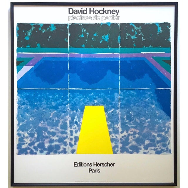 """David Hockney Rare Vintage 1978 Iconic Fine Art Lithograph Print Framed Pop Art Poster """" Day Pool With Three Blues """" For Sale - Image 13 of 13"""