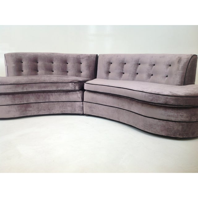Mid-Century Regency Style Purple Velvet Sectional - Image 4 of 6