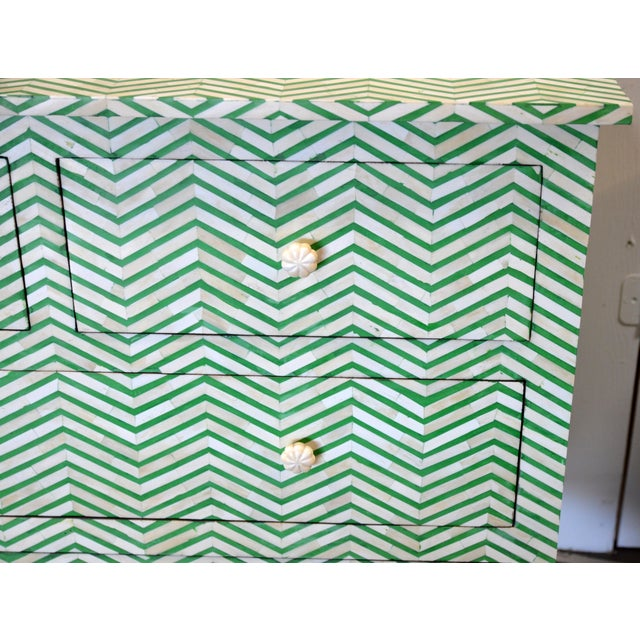 2010s 4-Drawer Bone Inlay Chevron Pattern Chest of Drawers For Sale - Image 5 of 8