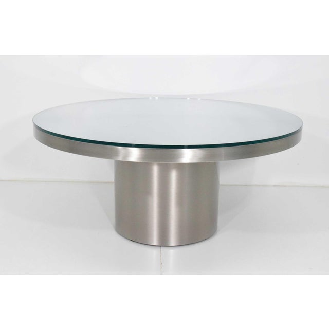 Metal Modern Brueton Brushed Stainless Steel Coffee Table For Sale - Image 7 of 9