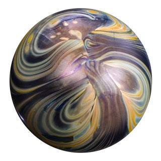Robert Eickholt Iridescent Art Glass Hand Blown Paperweight, Artist Signed For Sale
