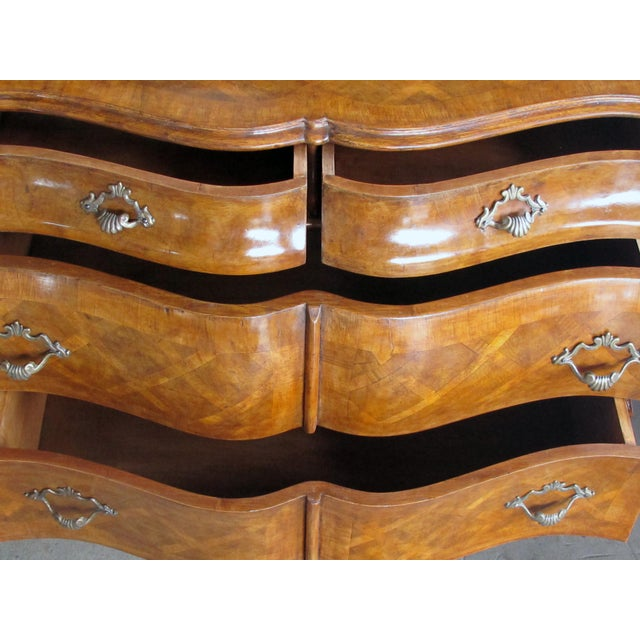 Rococo A Shapely and Large Pair of Italian Rococo Style Bombe-Form Chests of Drawers With Cross-Hatched Marquetry For Sale - Image 3 of 7