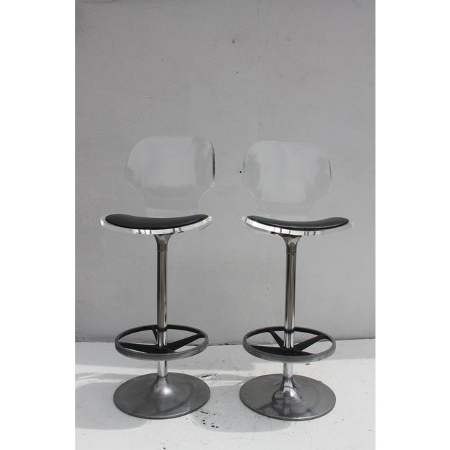 Vintage Lucite & Tulip Base Swivel Bar Stools - A Pair - Image 2 of 9