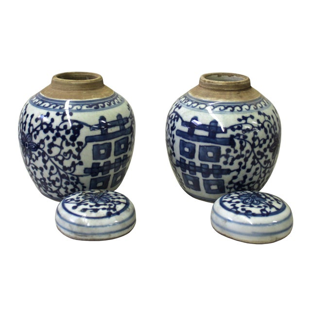 Pair Blue White Small Oriental Graphic Porcelain Ginger Jars - Image 3 of 5