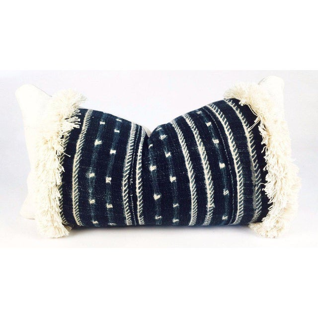 Fringe Mixed Indigo Blue African Mudcloth Small Lumbar Pillow For Sale - Image 4 of 4